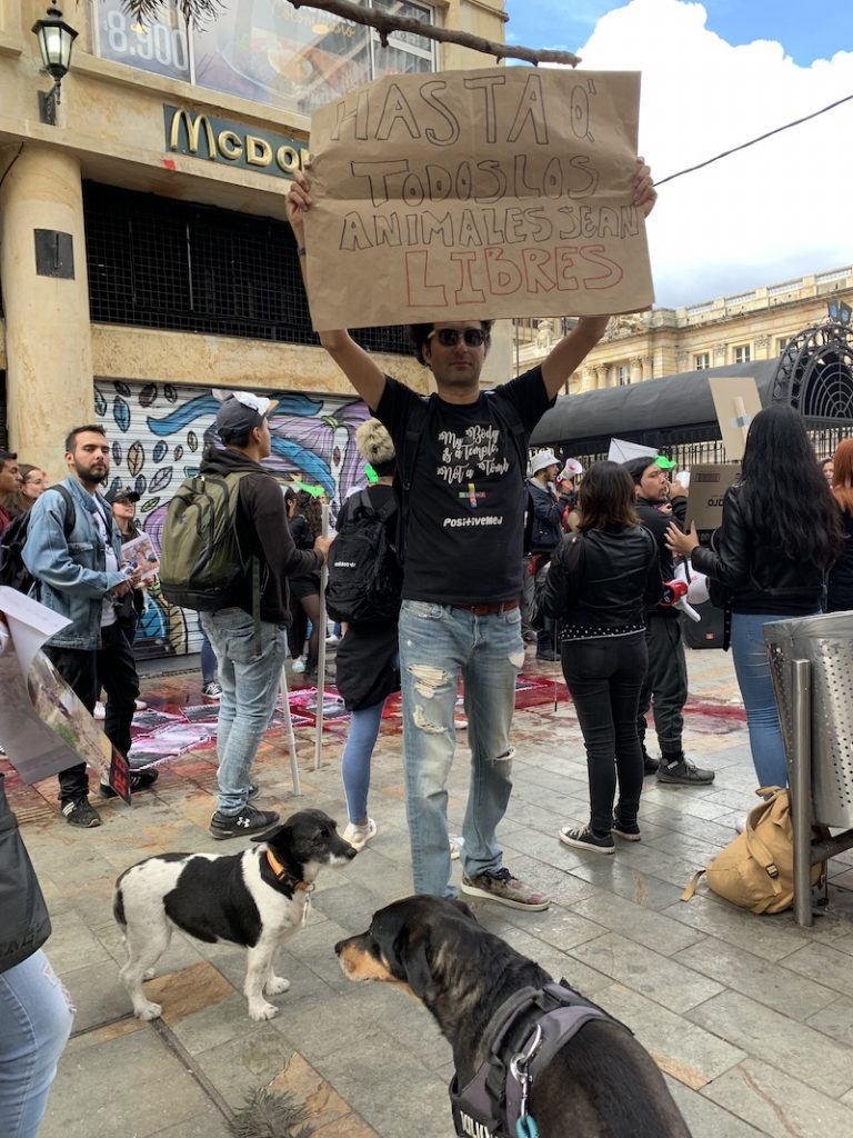 animal liberation demonstration in Bogota, Colombia